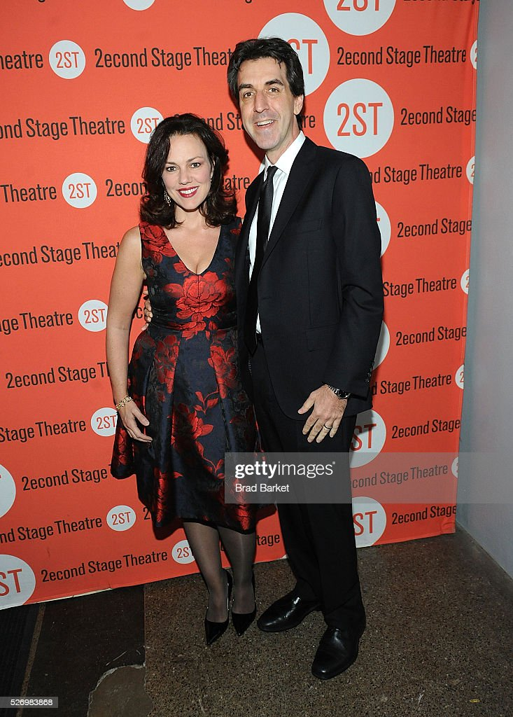 Georgia Stitt(L) and Jason Robert Brown attend 'Dear Evan Hansen' Off-Broadway opening celebration at Second Stage Theatre on May 1, 2016 in New York City.