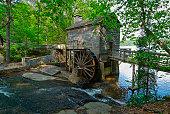 USA, Georgia, Stone Mountain, Watermill in trees