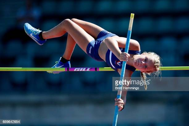 Georgia Tayler of Victoria competes in her U14 Womens Pole Valt during day four of the 2017 Australian Athletics Championships at Sydney Olympic Park...