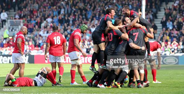 Georgia team celebrate their victory over Tonga during the Group C Rugby World Cup match between Tonga and Georgia at Kingsholm Stadium Stadium on...