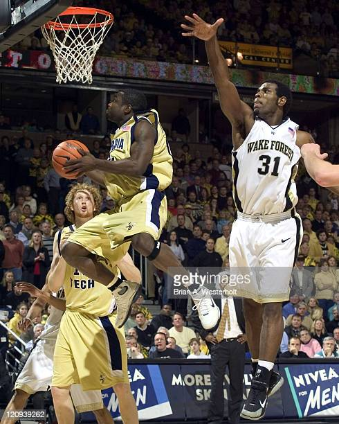 Georgia Tech guard Will Bynum drives to the basket past Wake Forest forward Eric Williams during second half action at the LJVM Coliseum in...