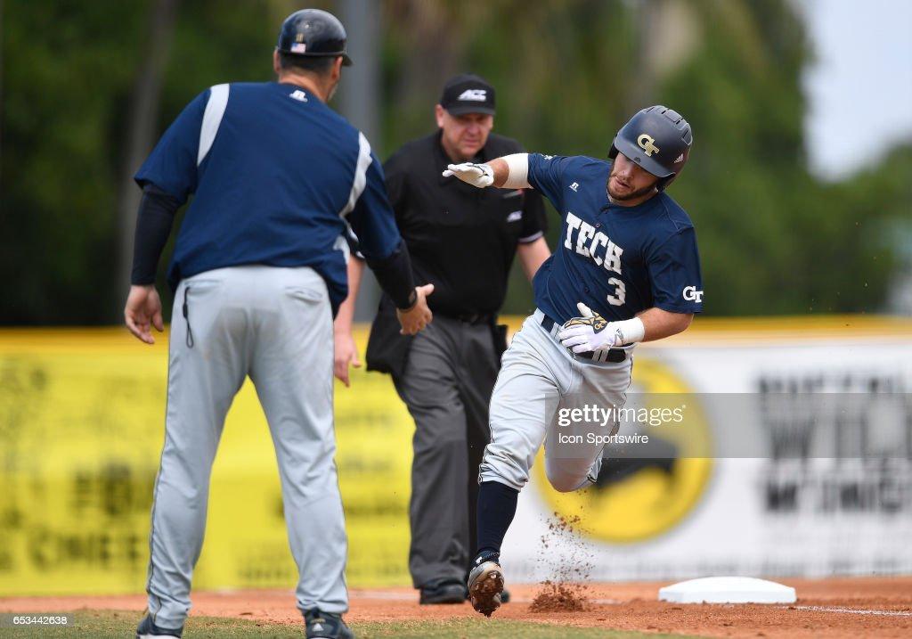 Georgia Tech Infielder Wade Bailey 3 Hit A Home Run During College Baseball