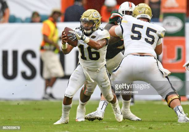 Georgia Tech quarterback TaQuon Marshall plays during an NCAA football game between the Georgia Tech Yellow Jackets and the University of Miami...