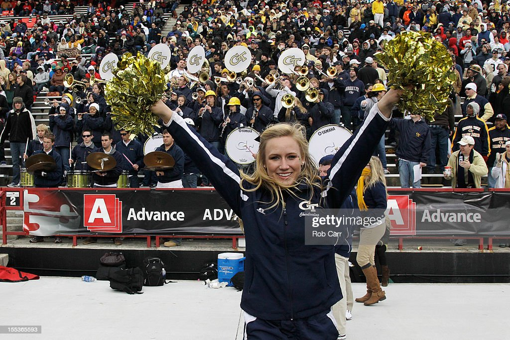 A Georgia Tech Yellow Jackets cheerleader preforms during the second half of the Yellow Jackets 33-13 win over the Maryland Terrapins at Byrd Stadium on November 3, 2012 in College Park, Maryland.