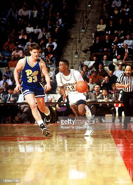Georgia Tech's Kenny Anderson heads upcourt against the Pittsburgh defense during the ACC Big East Challenge Hartford Connecticut 1989