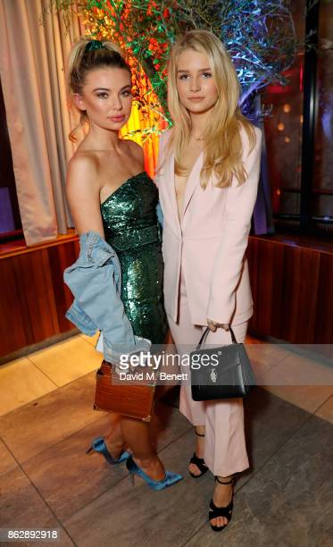 Georgia Toffolo and Lottie Moss attend the launch of The Trafalgar St James in the hotel's spectacular new bar The Rooftop on October 18 2017 in...