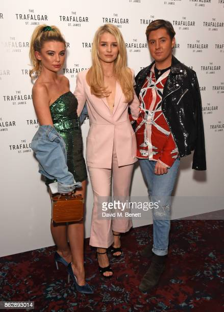 Georgia Toffolo Lottie Moss and Valentine Sozbilir attend the launch of The Trafalgar St James in the hotel's spectacular new bar The Rooftop on...