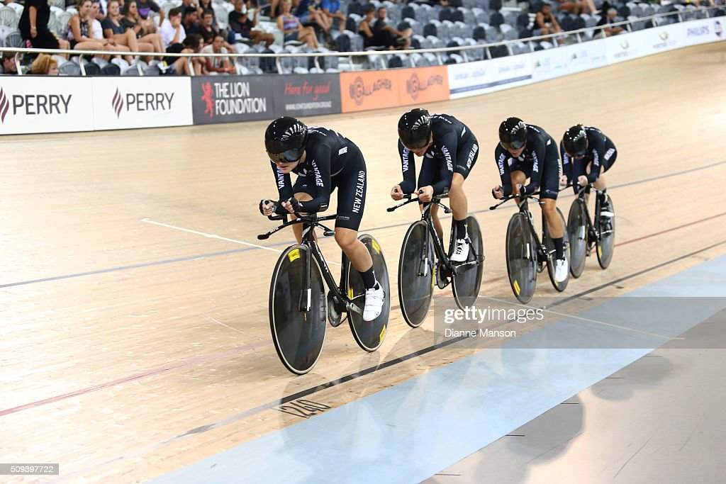 Georgia Williams, Jaime Nielsen, Rushlee Buchanan, Lauren Ellis of New Zealand during a 4000m Team Pursuit time trial at the New Zealand Track National Championships on February 13, 2016 in Cambridge, New Zealand.