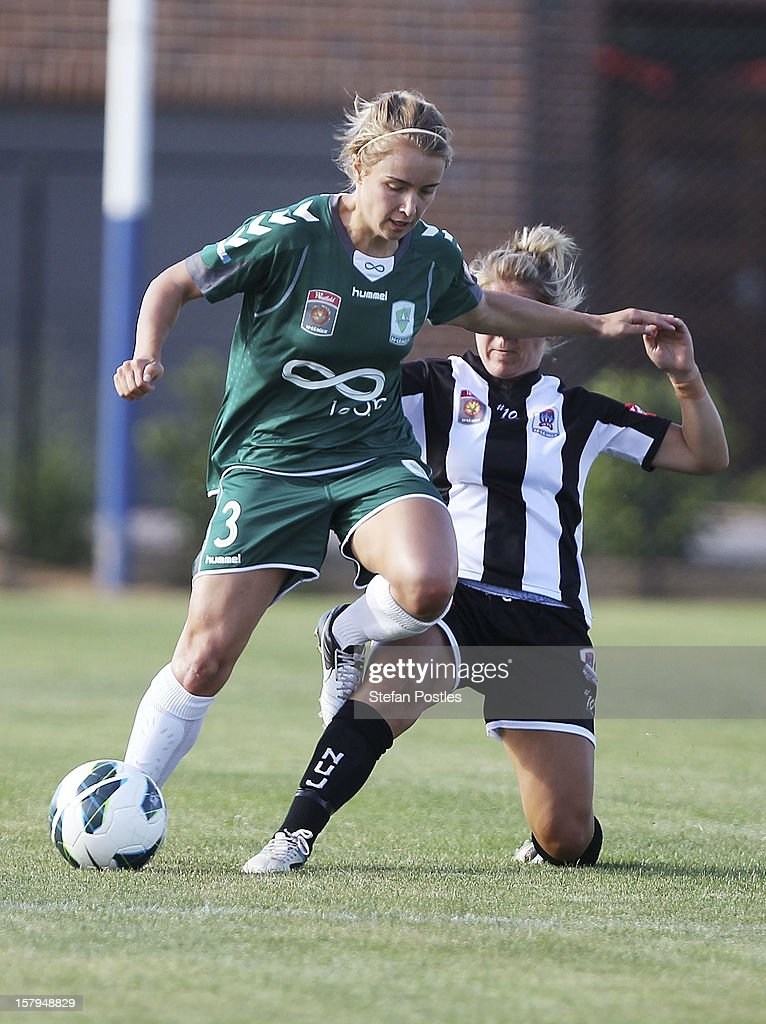Georgia Yeoman-Dale of Canberra United and Alisha Foote of Newcastle Jets contest possession during the round eight W-League match between Canberra United and the Newcastle Jets at Deakin Football Stadium on December 8, 2012 in Canberra, Australia.