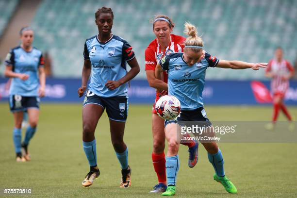 Georgia YeomanDale of Sydney is challenged by Ashley Hatch of Melbourne during the round four WLeague match between Sydney and Melbourne City at...