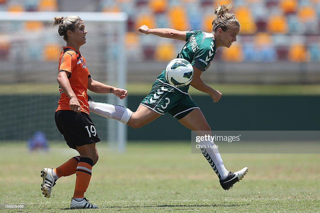 Georgia Yeoman-Dale of United heads the ball during the round 12 W-League match between the Brisbane Roar and Canberra United at Queensland Sport and Athletics Centre on January 12, 2013 in Brisbane, Australia.