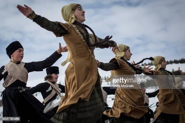 Georgian dancers perform during the Cildir Lake Golden Horse Festival on February 4 2017 in Cildir Turkey The Cildir Golden horse festival is a...