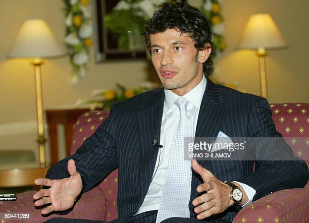 Georgian footballer Kakha Kaladze speaks during an interview in Tbilisi on March 31 2008 Kaladze announced the creation of his company KalaCapital in...