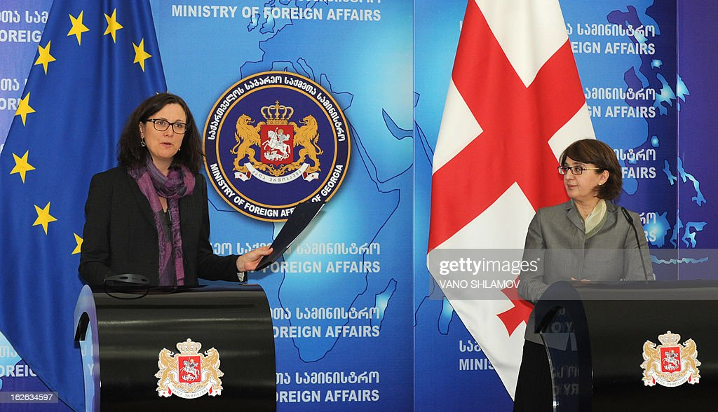 Georgian Foreign Minister Maia Panjikidze (R) listens to EU Commissioner for Home Affairs Cecilia Malmstrom at their joint press conference in Tbilisi, on February 25, 2013. EU Commissioner for Home Affairs handed in the action plan in the framework of visa dialogue to Georgia's Foreign Minister, the Georgian media reported today. AFP PHOTO /VANO SHLAMOV