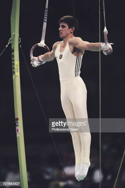 Georgian gymnast Vladimir Gogoladze competing for the Soviet Union pictured in action on the rings during competition to win the gold medal in the...