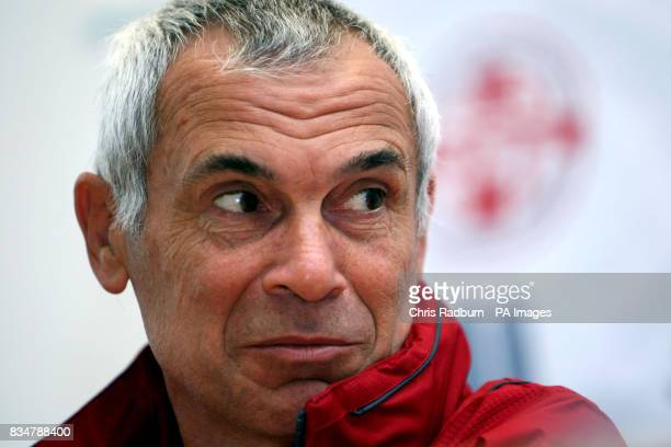 Georgian national team Head Coach Hector Cuper during a press conference at the Stadion am Bruchweg in Mainz Germany ahead of the Georgia vs Republic...