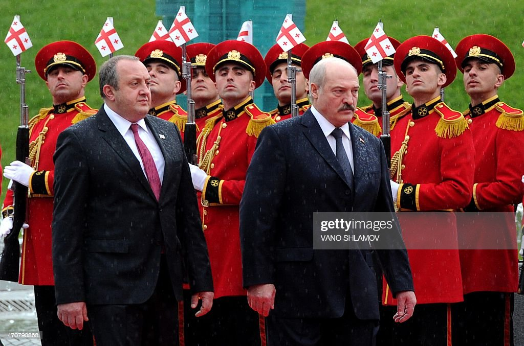 Georgian President <a gi-track='captionPersonalityLinkClicked' href=/galleries/search?phrase=Giorgi+Margvelashvili&family=editorial&specificpeople=10916956 ng-click='$event.stopPropagation()'>Giorgi Margvelashvili</a> (L) and his Belarus' counterpart <a gi-track='captionPersonalityLinkClicked' href=/galleries/search?phrase=Alexander+Lukashenko&family=editorial&specificpeople=542572 ng-click='$event.stopPropagation()'>Alexander Lukashenko</a> review an honour guard during a welcoming ceremony in Tbilisi on April 23, 2015. <a gi-track='captionPersonalityLinkClicked' href=/galleries/search?phrase=Alexander+Lukashenko&family=editorial&specificpeople=542572 ng-click='$event.stopPropagation()'>Alexander Lukashenko</a> is on his official visit to Georgia.
