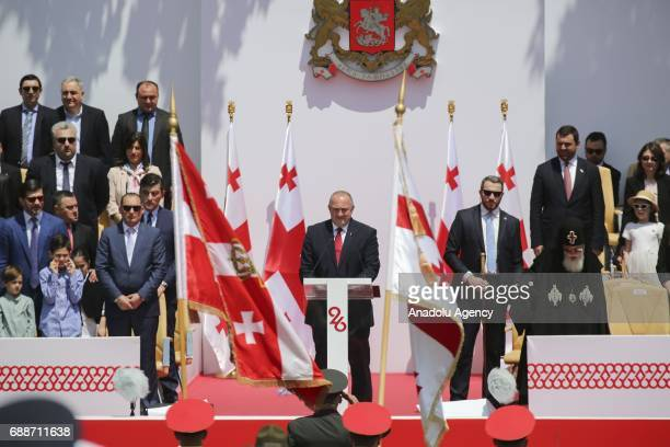 Georgian President Giorgi Margvelashvili delivers a speech after the swearing in ceremony of 300 soldiers at Freedom Square during the celebrations...