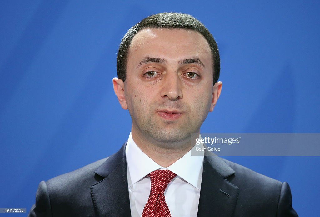 Georgian Prime Minister <a gi-track='captionPersonalityLinkClicked' href=/galleries/search?phrase=Irakli+Garibashvili&family=editorial&specificpeople=11579652 ng-click='$event.stopPropagation()'>Irakli Garibashvili</a>, along with German Chancellor Angela Merkel, Moldovan Prime Minister Iurie Leanca and interim Ukrainian Prime Minister Arseniy Yatsenyuk (all three not pictured), gives statements to the media at the Chancellery on May 28, 2014 in Berlin, Germany. The four leaders are meeting to discuss the ongoing conflict in eastern Ukraine.