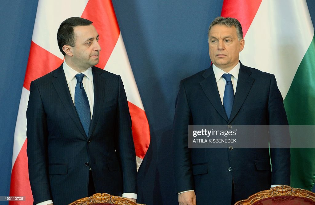 Georgian Prime Minister <a gi-track='captionPersonalityLinkClicked' href=/galleries/search?phrase=Irakli+Garibashvili&family=editorial&specificpeople=11579652 ng-click='$event.stopPropagation()'>Irakli Garibashvili</a> (L) arrives with his Hungarian counterpart <a gi-track='captionPersonalityLinkClicked' href=/galleries/search?phrase=Viktor+Orban&family=editorial&specificpeople=4685765 ng-click='$event.stopPropagation()'>Viktor Orban</a> (R) in Delegation Hall of the parliament building in Budapest on February 10, 2015 prior to their press conference. The Georgian guest stays on his two-day official visit in Hungary.