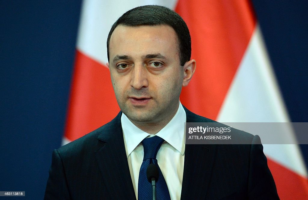 Georgian Prime Minister <a gi-track='captionPersonalityLinkClicked' href=/galleries/search?phrase=Irakli+Garibashvili&family=editorial&specificpeople=11579652 ng-click='$event.stopPropagation()'>Irakli Garibashvili</a> attends a joint press conference with his Hungarian counterpart (not pictured) in Delegation Hall of the parliament building in Budapest on February 10, 2015 prior to their press conference. The Georgian guest stays on his two-day official visit in Hungary.