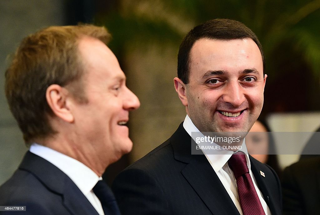 Georgian Prime Minister <a gi-track='captionPersonalityLinkClicked' href=/galleries/search?phrase=Irakli+Garibashvili&family=editorial&specificpeople=11579652 ng-click='$event.stopPropagation()'>Irakli Garibashvili</a> (R) is welcomed by European Council President <a gi-track='captionPersonalityLinkClicked' href=/galleries/search?phrase=Donald+Tusk&family=editorial&specificpeople=870281 ng-click='$event.stopPropagation()'>Donald Tusk</a> at the European Council headquarters in Brussels on February 26, 2015.