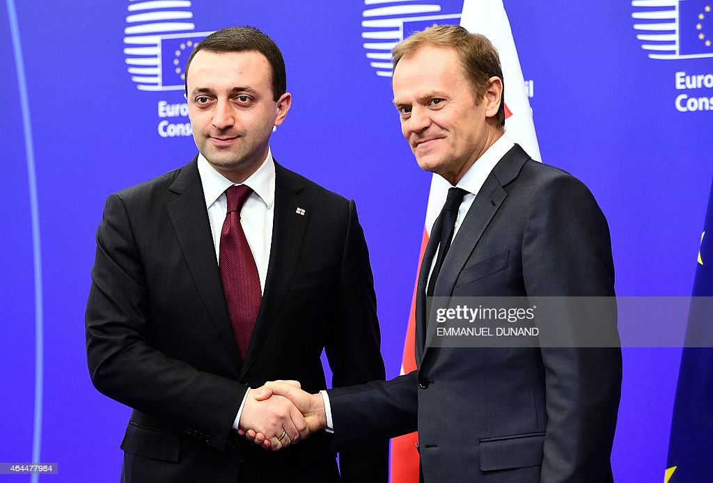 Georgian Prime Minister <a gi-track='captionPersonalityLinkClicked' href=/galleries/search?phrase=Irakli+Garibashvili&family=editorial&specificpeople=11579652 ng-click='$event.stopPropagation()'>Irakli Garibashvili</a> (L) shakes hands with European Council President <a gi-track='captionPersonalityLinkClicked' href=/galleries/search?phrase=Donald+Tusk&family=editorial&specificpeople=870281 ng-click='$event.stopPropagation()'>Donald Tusk</a> at the European Council headquarters in Brussels on February 26, 2015.
