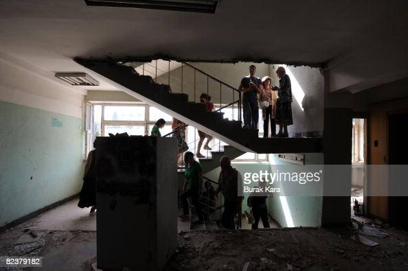 Georgian refugees many of them from the breakaway province of South Ossetia settle into a refugee shelter August 16 2008 in Tbilisi Georgia Tens of...