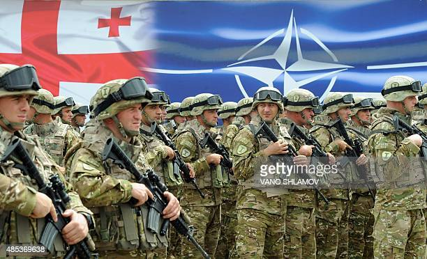 Georgian soldiers stand in formation during the inauguration ceremony of the NATOGeorgian Joint Training and Evaluation Center at the Krtsanisi...