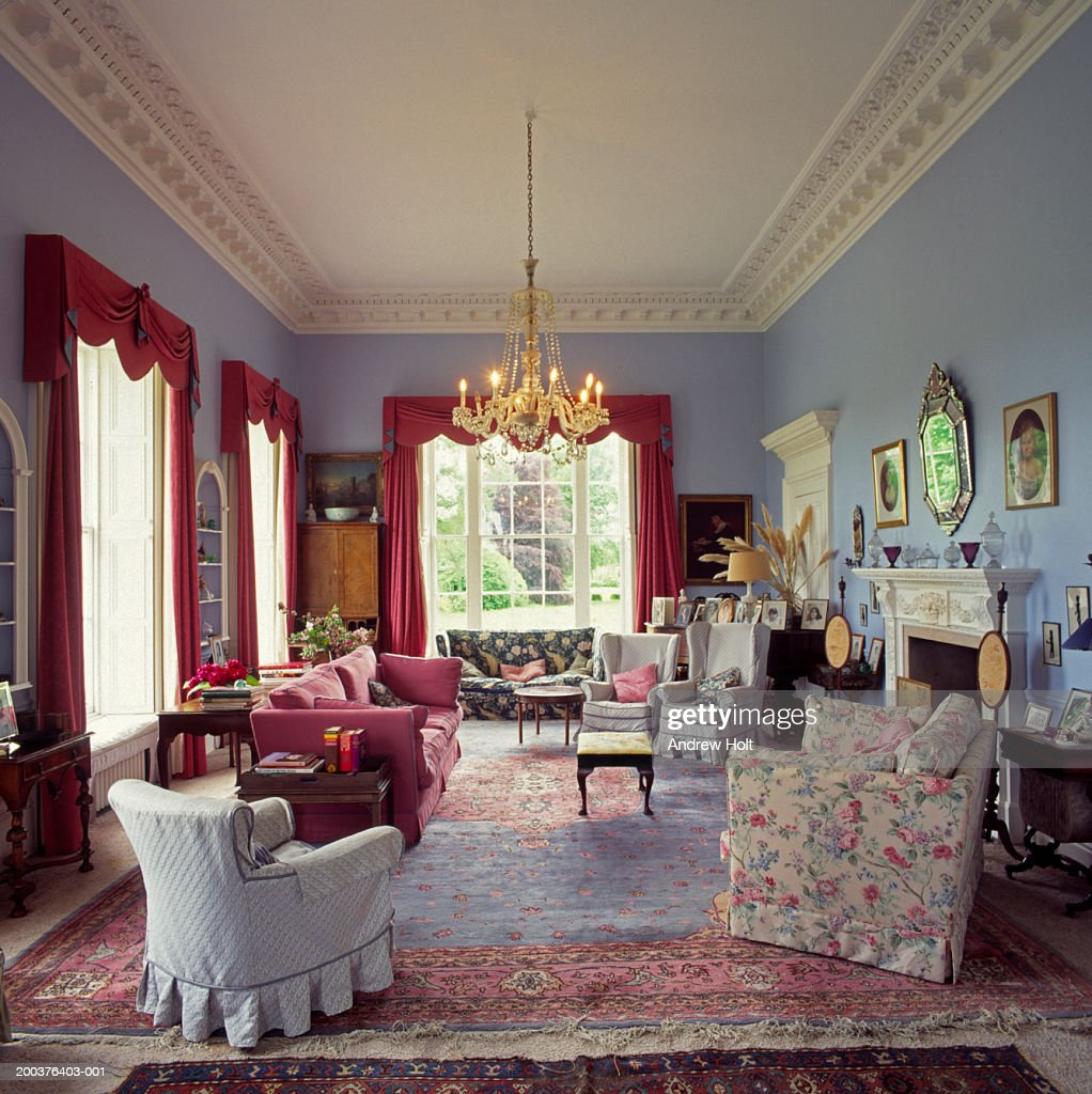 Georgian Style Drawing Room Interior Of Grand Country House Stock
