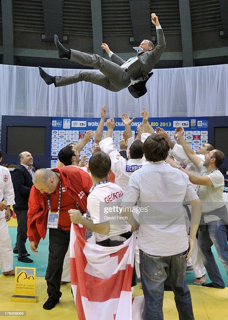 Georgian team coach, Irakli Uznadze, is rewarded for the team's gold medal success by being tossed high into the air after the medal ceremony at the Rio World Judo Team Championships on Day 7 on September 01, 2013 at the Gympasium Maracanazinho in Rio de Janeiro, Brazil.