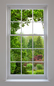 a beautifully crafted set of white wood Georgian windows with views over a delightful, lush English garden setting with a large Oak tree overhanging in the foreground.