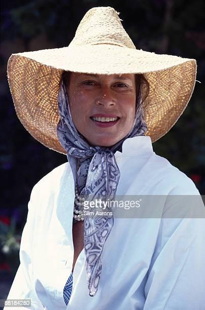 Georgiana 'Georgie' Abreu the wife of Jean Claude Abreu at Il Pellicano Hotel in Porto Ercole Tuscany August 1980