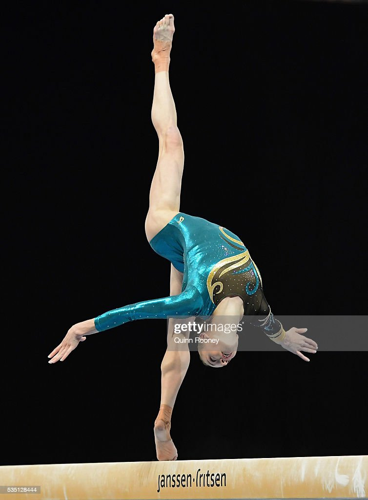 GeorgiaRose Brown of Victoria competes on the beam during the 2016 Australian Gymnastics Championships at Hisense Arena on May 29 2016 in Melbourne...