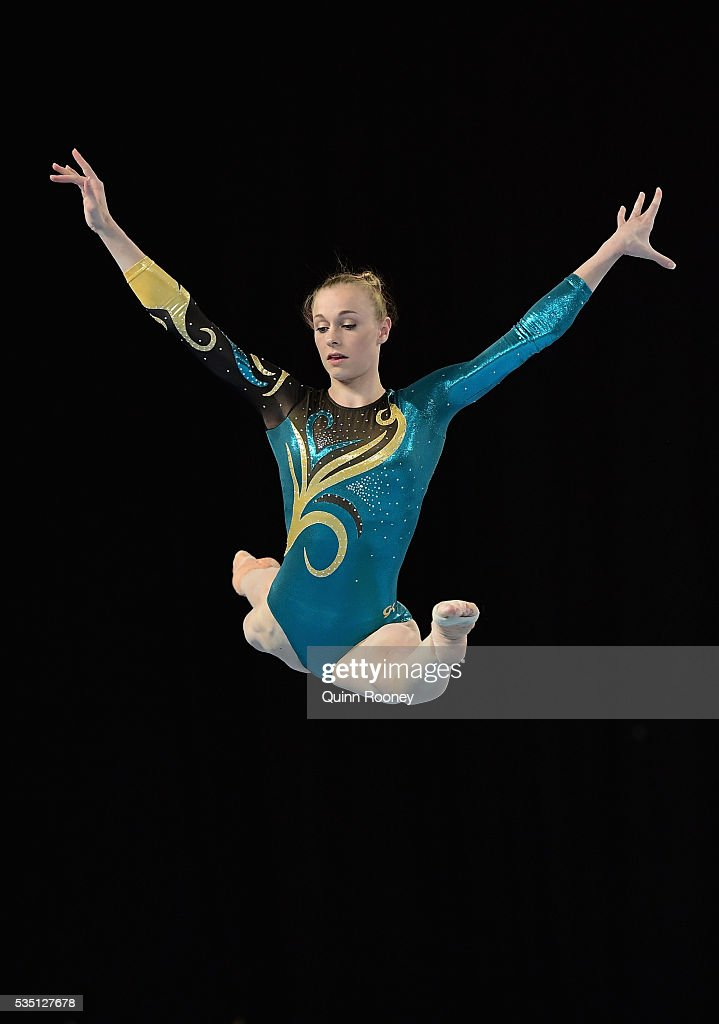 GeorgiaRose Brown of Victoria competes on the floor during the 2016 Australian Gymnastics Championships at Hisense Arena on May 29 2016 in Melbourne...