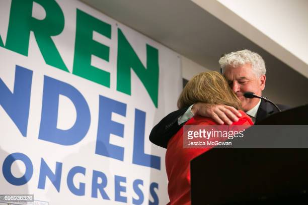 Georgia's 6th Congressional district Republican candidate Karen Handel gets a hug from husband Steve Handel during a victory speech at the Hyatt...