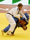 Georgia's judoka Amiran Papinashvili competes with Israel's Artiom Arshaski during the under 60 kg category competition for bronze medal at the IJF...
