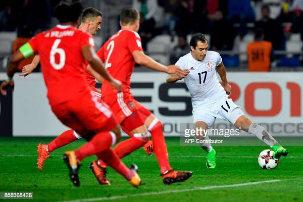 Georgia's midfielder Giorgi Merebashvili controls the ball during the FIFA World Cup 2018 qualification football match between Georgia and Wales in...