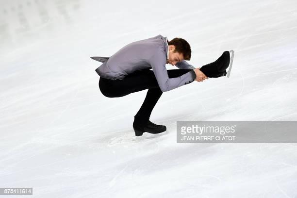Georgia's Moris Kvitelashvili performs during the men's short program during event of the Internationaux de France ISU Grand Prix of Figure Skating...