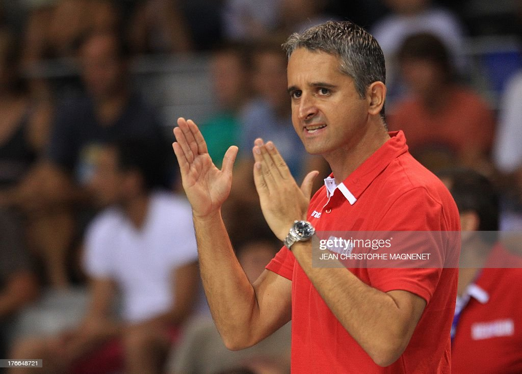 Georgia's national basketball team head coach Igor Kokoskov reacts during the friendly basketball match between Serbia and Georgia, on August 16, 2013, in Antibes, southeastern France, as part of the preparation for the 2013 EuroBasket in Slovenia.