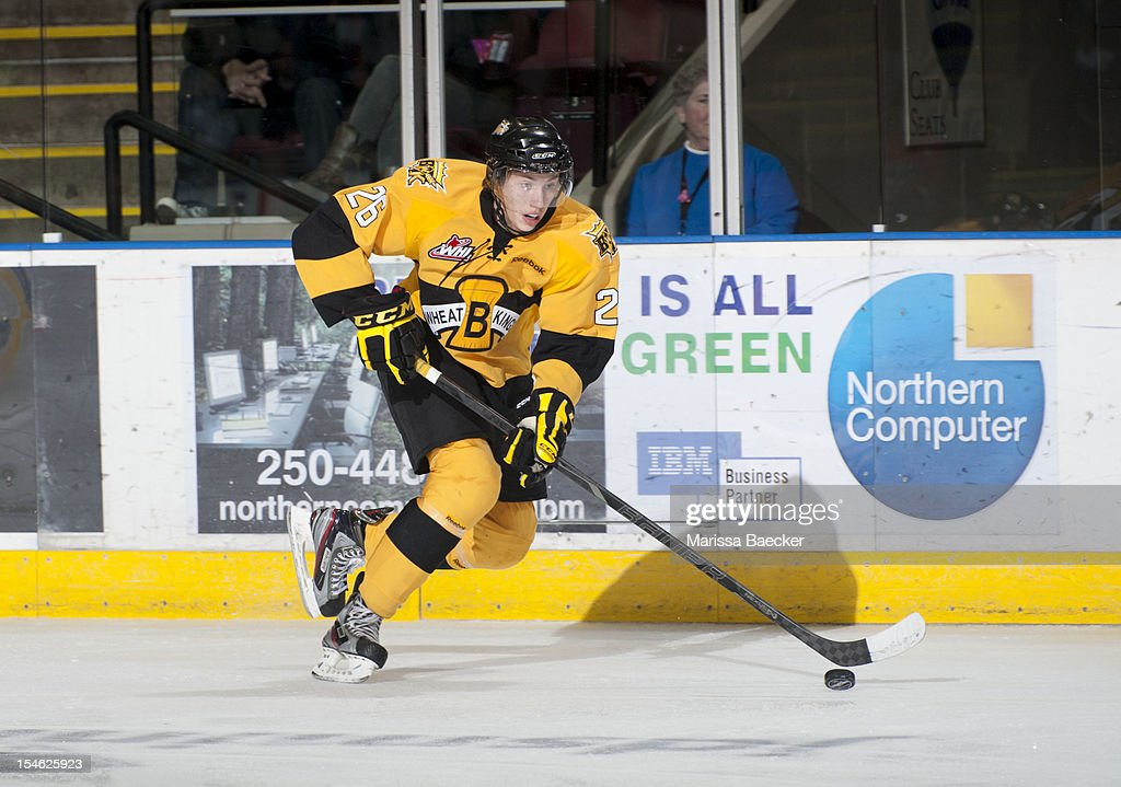 Georgie Maguire #26 of the Brandon Wheat Kings skates on the ice against the Kelowna Rockets on October 20, 2012 at Prospera Place in Kelowna, British Columbia, Canada.