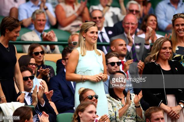 Georgie Twigg and Kate RichardsonWalsh are introduced to the crowd from the centre court royal box on day six of the Wimbledon Lawn Tennis...