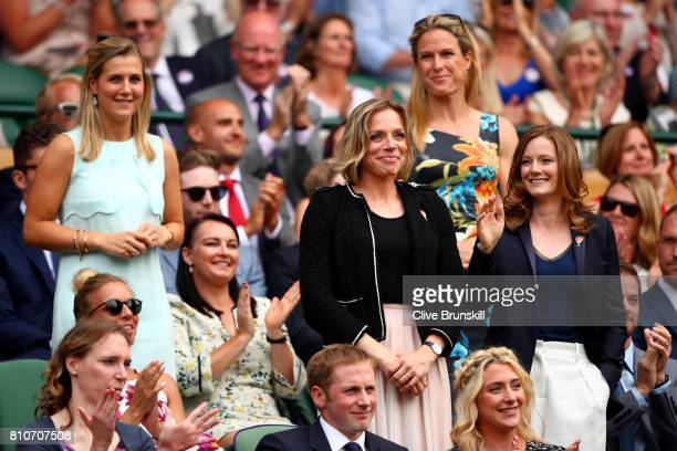 Georgie Twigg Kate RichardsonWalsh Crista Cullen and Helen RichardsonWalsh are introduced to the crowd from the centre court royal box on day six of...