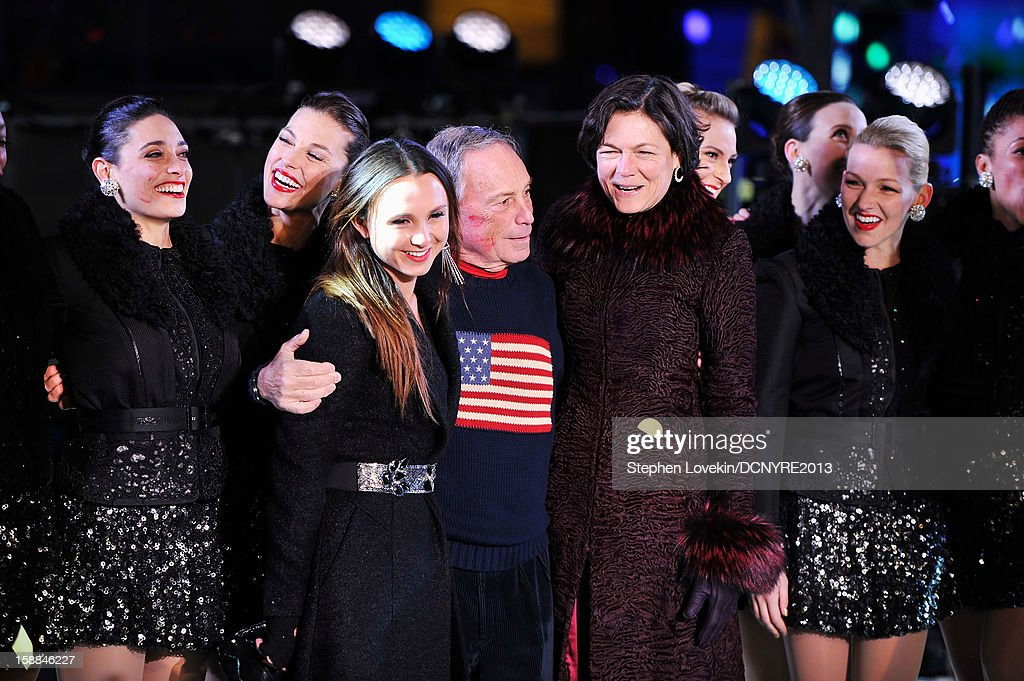 Georgina Bloomberg, Michael Bloomberg, and Diana Taylor onstage at Dick Clark's New Year's Rockin' Eve with Ryan Seacrest 2013 in Times Square on December 31, 2012 in New York City, New York.