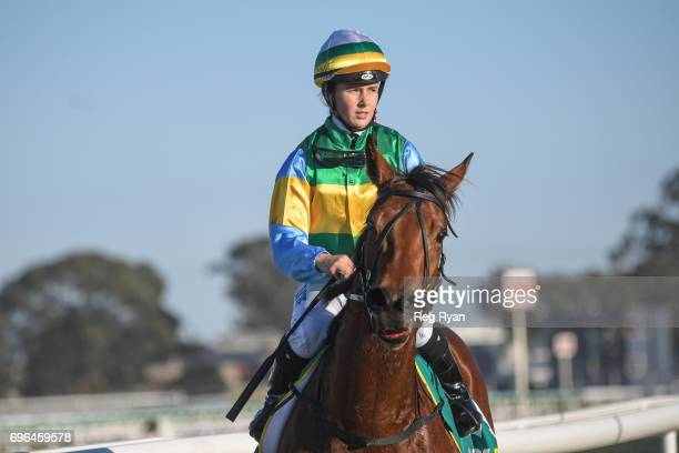 Georgina Cartwright returns to the mounting yard on Dame Largo after winning the IGA Liquor FM BM64 Handicap at Geelong Synthetic Racecourse on June...