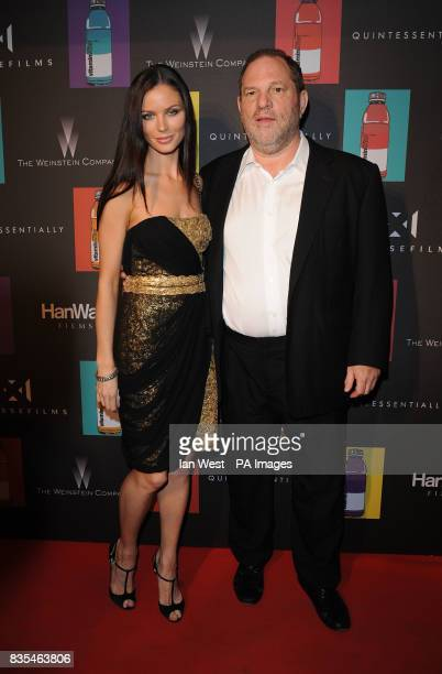 Georgina Chapman and Harvey Weinstein arrive at the party for new film 'Nowhere Boy' hosted by Quintessentially at the La Plage Vitaminwater in...