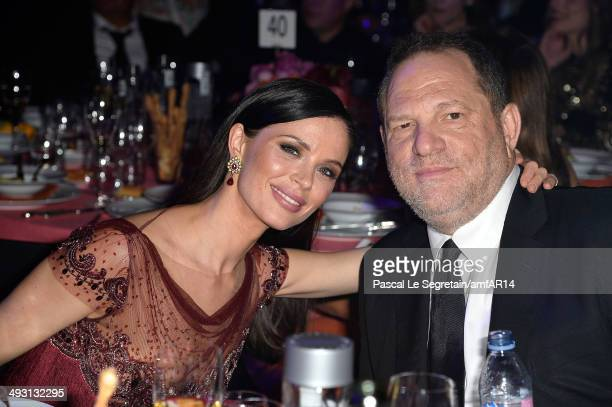 Georgina Chapman and Harvey Weinstein attend amfAR's 21st Cinema Against AIDS Gala Presented By WORLDVIEW BOLD FILMS And BVLGARI at Hotel du...