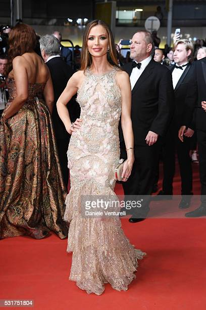 Georgina Chapman attends the 'Hands Of Stone' premiere during the 69th annual Cannes Film Festival at the Palais des Festivals on May 16 2016 in...