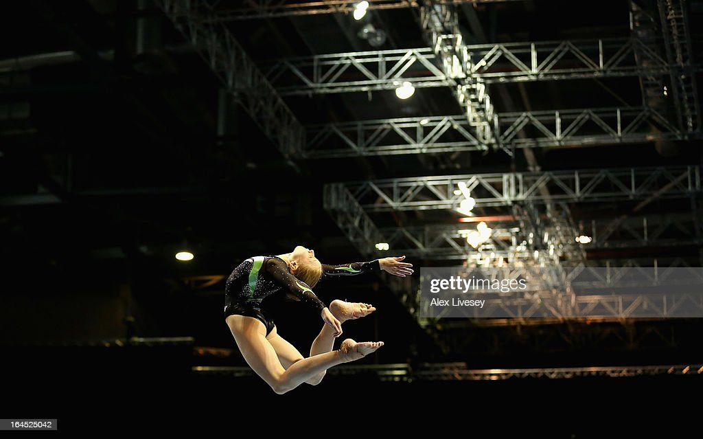 Georgina Clements of Park Wrekin College competes in the Beam of the Junior Apparatus Finals during the Men's and Women's British Gymnastics Championships at the Echo Arena on March 24, 2013 in Liverpool, England.