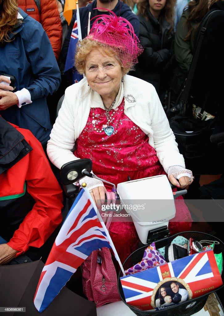 Georgina Crawford waits for the royals on April 10, 2014 in Blenheim, New Zealand. The Duke and Duchess of Cambridge are on a three-week tour of Australia and New Zealand, the first official trip overseas with their son, Prince George of Cambridge.